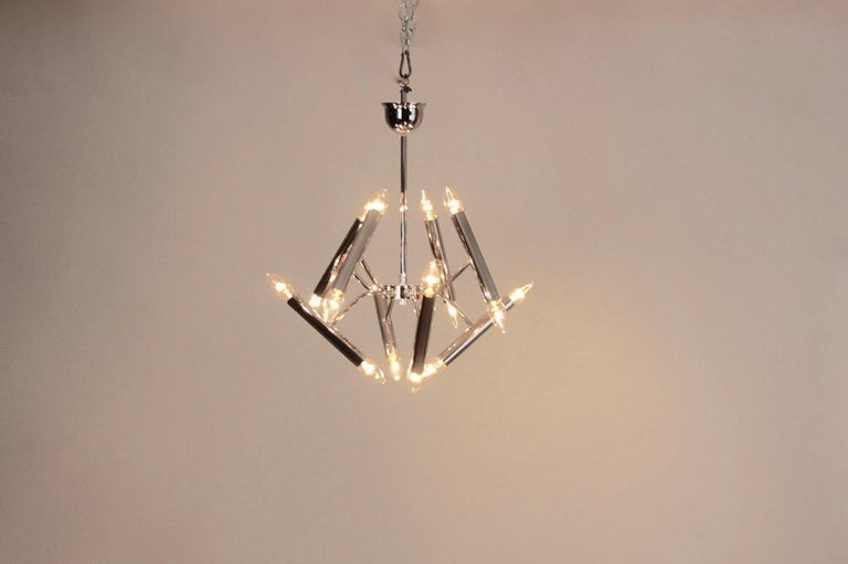 Belgian Geometrical Chrome Chandelier by Boulanger For Sale
