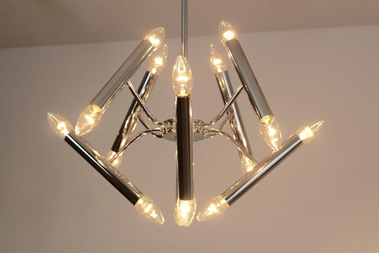 Geometrical Chrome Chandelier by Boulanger In Good Condition For Sale In Voorburg, NL