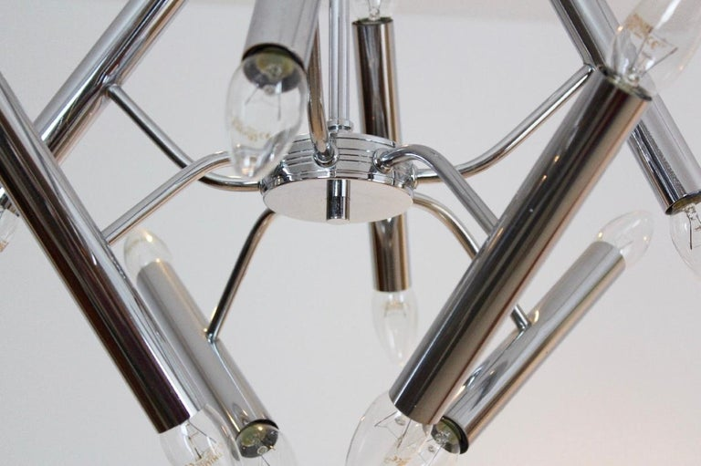 20th Century Geometrical Chrome Chandelier by Boulanger For Sale