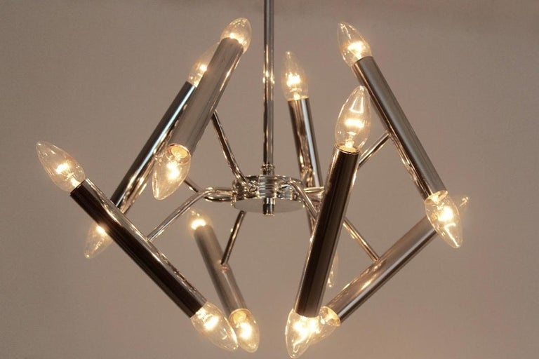 Geometrical Chrome Chandelier by Boulanger For Sale 1