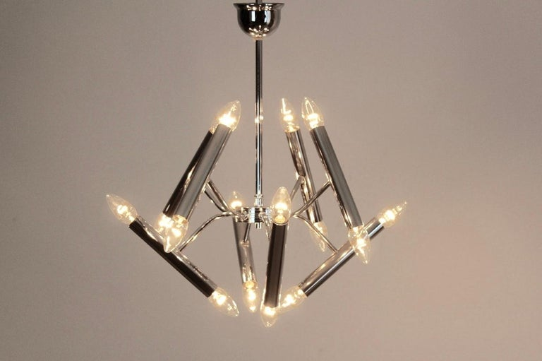 Geometrical Chrome Chandelier by Boulanger For Sale 2