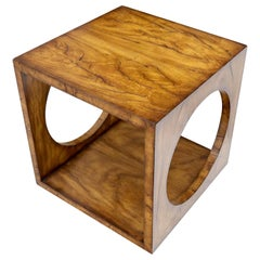 Geometrical Cube Shape Burl Flame Wood Pattern Side Table