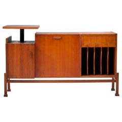 Geometrical Sideboard / DJ Booth in Patinated Teak, France, 1950s