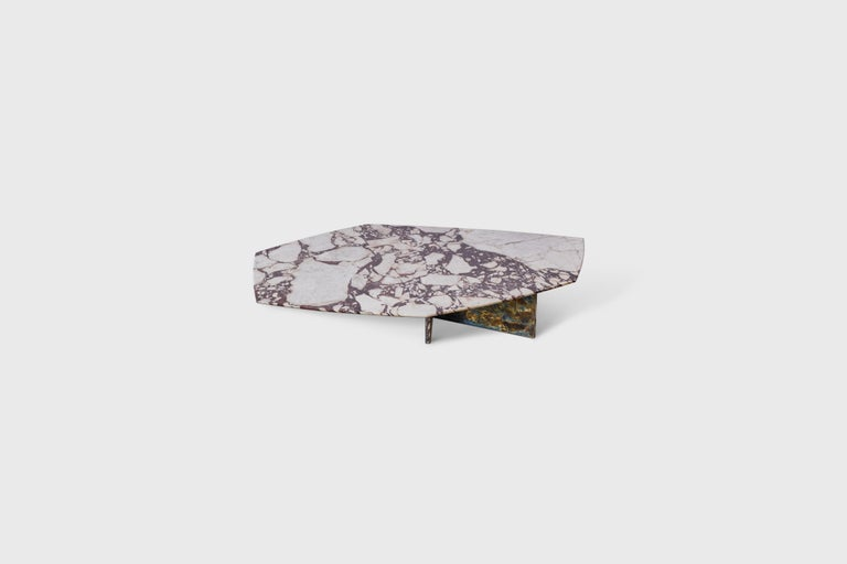 Geometrik coffee Table Calacata Viola marble with sculptural marble base mounted with oxidized brass. Designer - Alexander Diaz Anderson   Measures: Table 1: Height 10.6