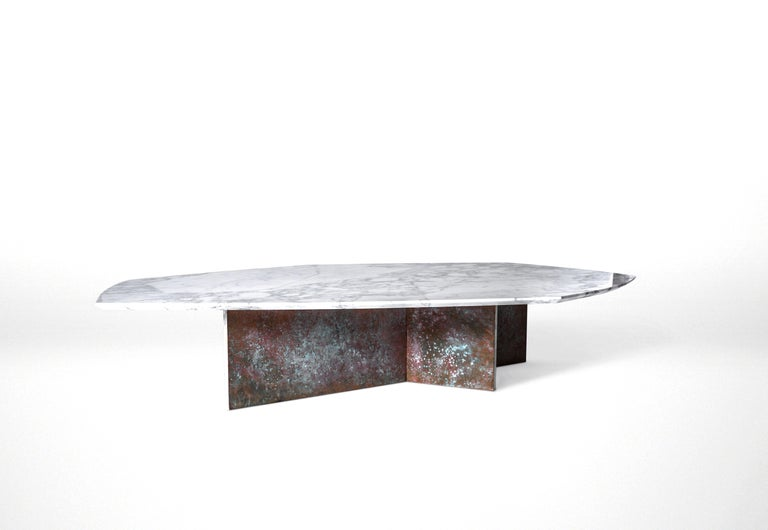 Brutalist Geometrik Coffee Table Large, Oxidized Brass and Marble by Atra For Sale