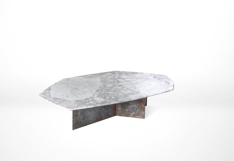 Central American Geometrik Coffee Table Large, Oxidized Brass and Marble by Atra For Sale