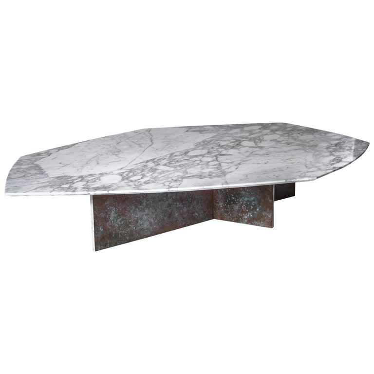 Geometrik Coffee Table Large, Oxidized Brass and Marble by Atra For Sale