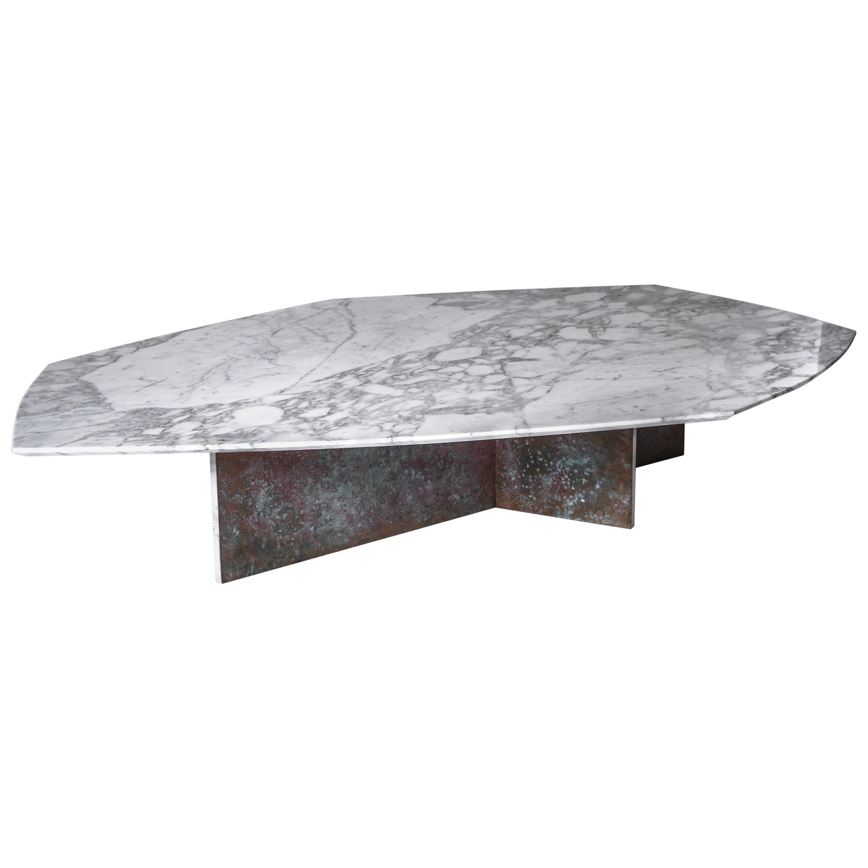 Geometrik Coffee Table Large, Oxidized Brass and Marble by Atra