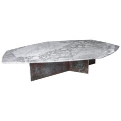 Geometrik Coffee Table Large, Oxidized Brass and Marble by Atra