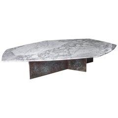 Geometrik Coffee Table, Oxidized Brass and Marble by Atra