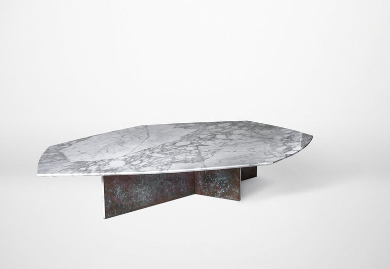 Brutalist Geometrik Coffee Table Set, Oxidized Brass and Marble by Atra For Sale