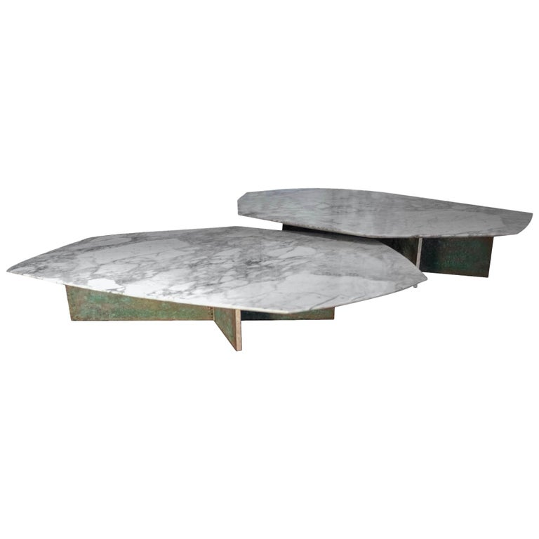 Geometrik Coffee Table Set, Oxidized Brass and Marble by Atra For Sale