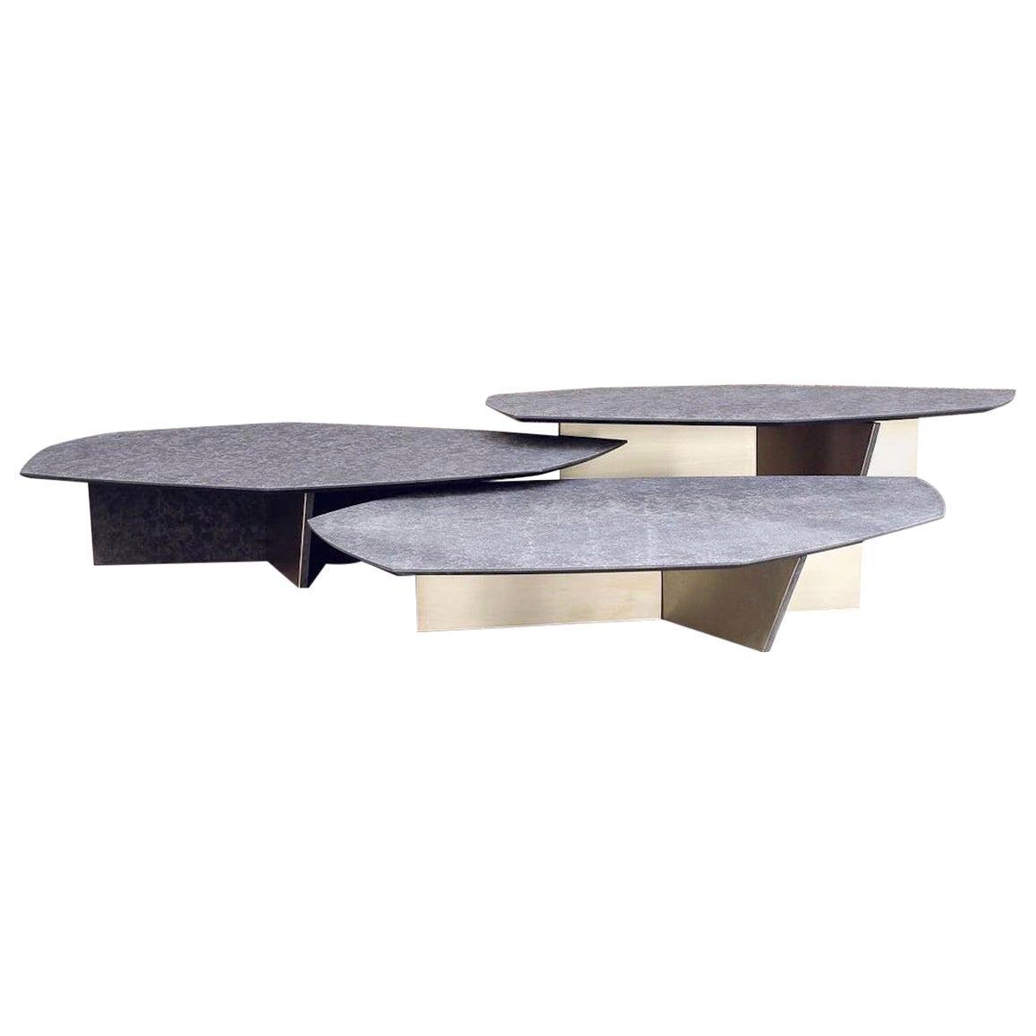 Geometrik Coffee Table Set, Satin Brass and Granite by Atra