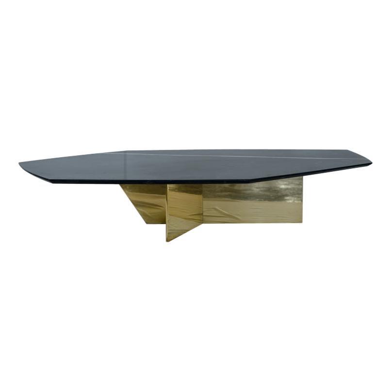 Geometrik Mirror Brass Base Coffee Table