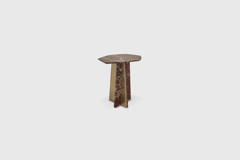 Rosso Iepanto, with sculptural marble base mounted with satin brass Designer - Alexander Diaz Anderson   Measures:   Medium L 450mm, W 365 mm, H 450 mm Large L 500 mm, W 365 mm, H 530 mm  All our items are customizable to your size,