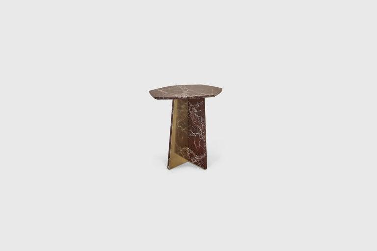 Scandinavian Modern Geometrik Side Table, Red Marble and Brass by ATRA
