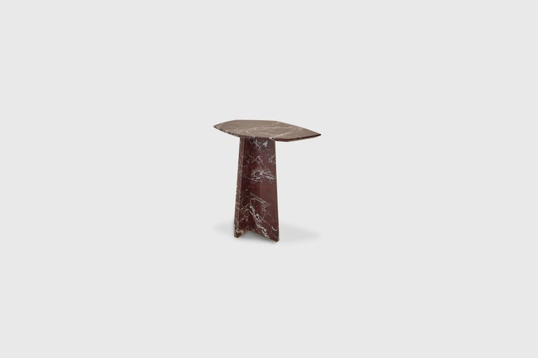 Mexican Geometrik Side Table, Red Marble and Brass by ATRA