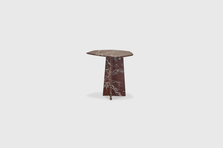 Contemporary Geometrik Side Table, Red Marble and Brass by ATRA