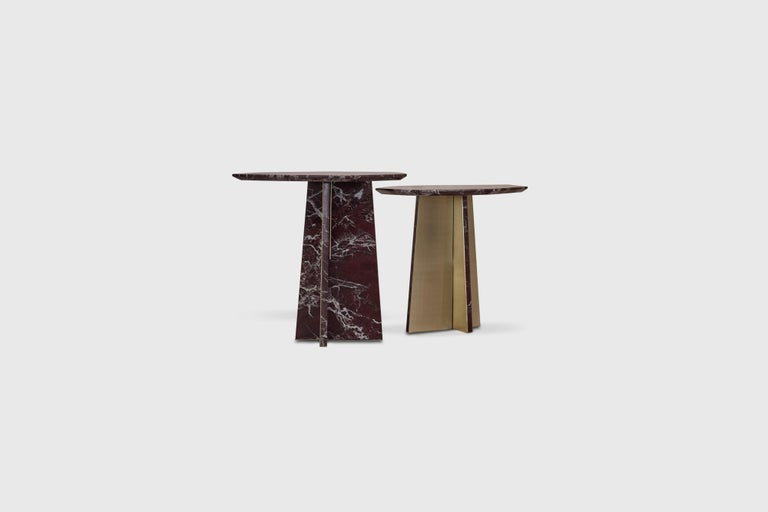 Geometrik Side Table, Red Marble and Brass by ATRA 1