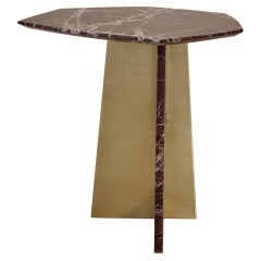 Geometrik Side Table, Red Marble and Brass by ATRA