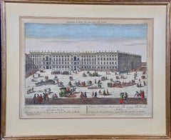 A Hand Colored Probst Vue d'optique Engraving of the Royal Palace in Berlin