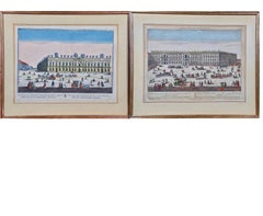 A Pair of Hand Colored Probst Vue d'optique Engravings of Berlin Architecture