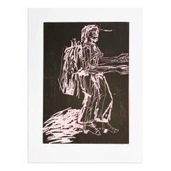 Falle (Trap), Hand Colored Woodcut, Contemporary Art
