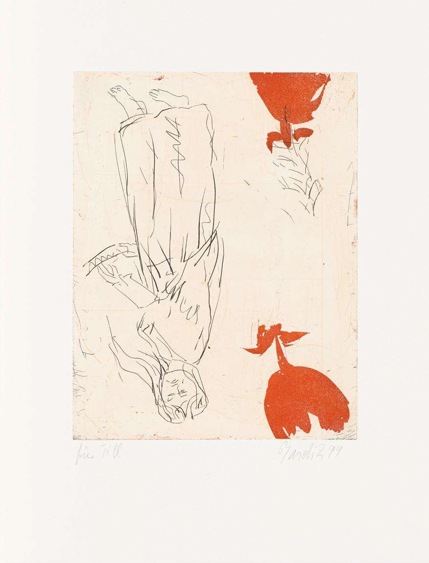 Friedrichs Frau am Abgrund - 21st Century, Georg Baselitz, Roses, Romanticism