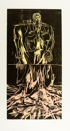Geteilter Held (Remix) -- Unique, Woodcut, Neo-Expressionist by Georg Baselitz
