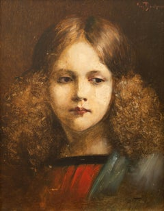 Portrait of a Young Girl by Georg Büchner (1858–1914, Germany), Signed, Oil