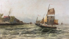 Entering the Harbour - Georg Fischhof (1859-1915) Signed J Wagner, Pseudonym