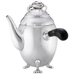 Georg Jensen 1017A Handcrafted Sterling Silver Coffee Pot in Ebony