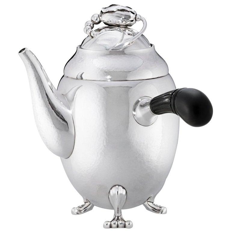 Georg Jensen 1017A Handcrafted Sterling Silver Coffee Pot in Ebony For Sale