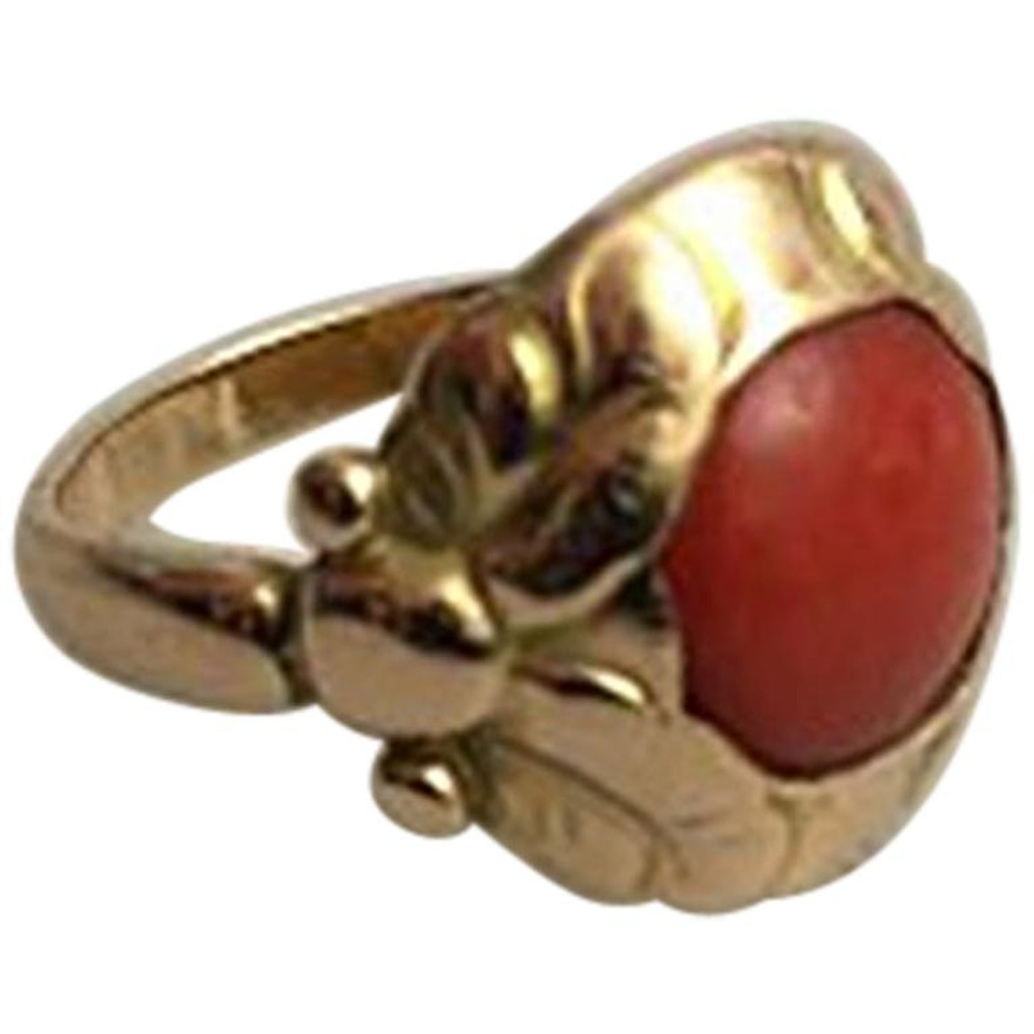 Bare ut Georg Jensen 14 Karat Gold Ring No 111 with Red Stone For Sale at YJ-04