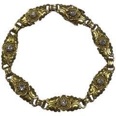 Georg Jensen 14 Karat Gold Segmented Bracelet with Brilliants No 251