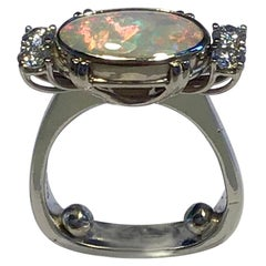Georg Jensen 18 Carat Gold Ring Opal and Brilliant