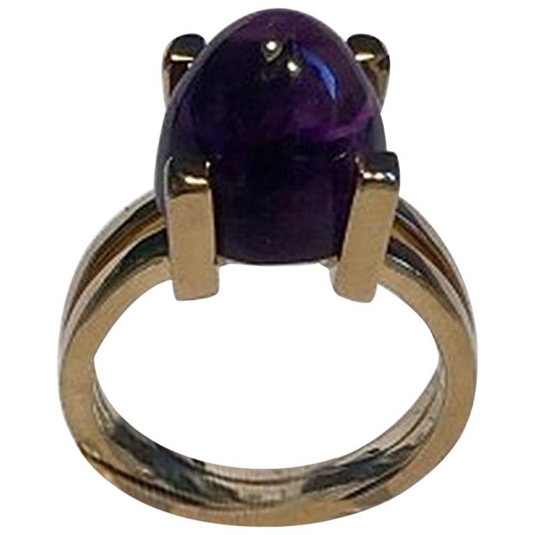 Georg Jensen 18 Carat Gold Ring with Amethyst
