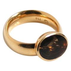 Georg Jensen 18 Karat Gold and Smokey Quartz Ring
