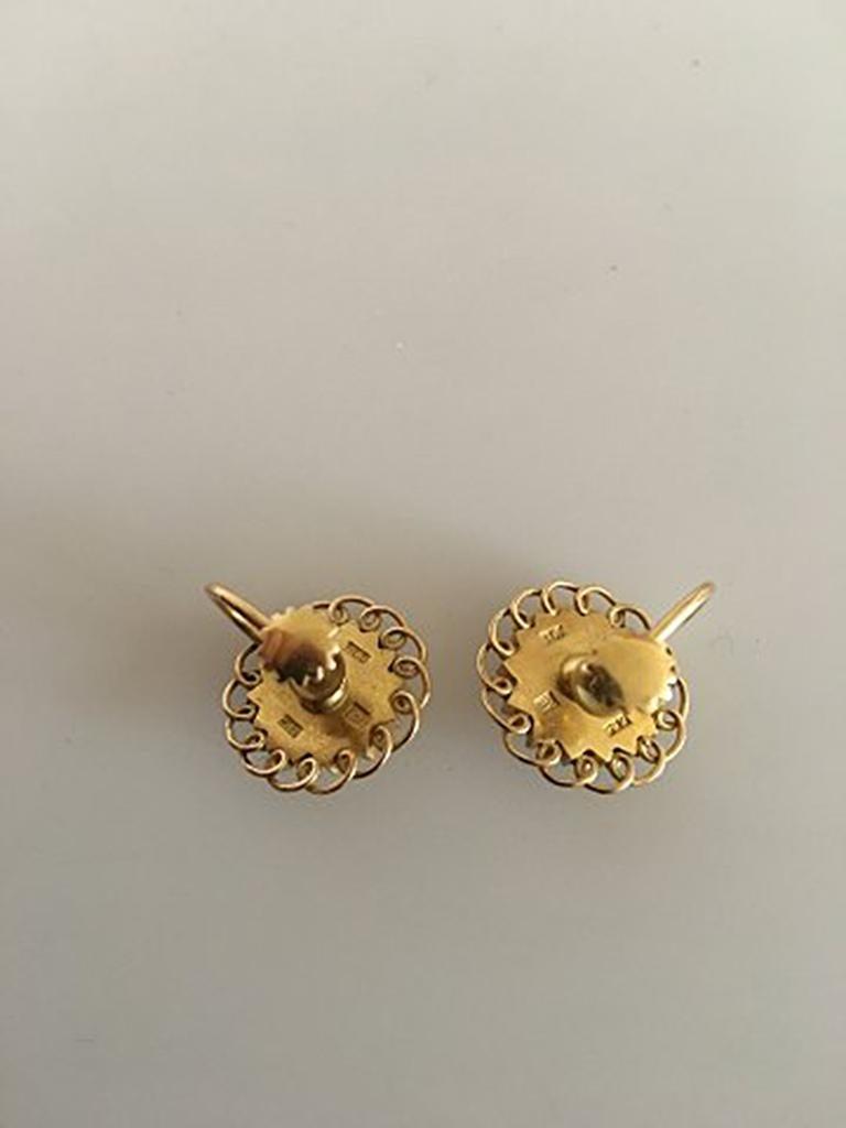 9854c964cbbe7 Georg Jensen 18 Karat Gold Earrings 'Screws' Ornamented with a Pearl