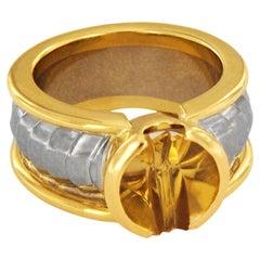 Georg Jensen 18 Karat Two-Tone Gold Citrine Ring