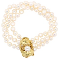 Georg Jensen 18 Karat Yellow Gold Cultured Pearl Bracelet