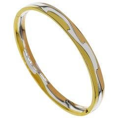 Georg Jensen 18 Karat Yellow White Pink Gold Fusion Bangle Bracelet