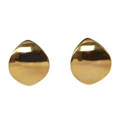Georg Jensen 18 Karat Gold Large Modernist Earrings Designed by Nana Ditzel