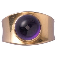 Georg Jensen 1967 Gold and Amethyst Ring