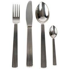 Georg Jensen 24 Pieces Bernadotte Silverware Fork Knife Spoon Coffee in Silver