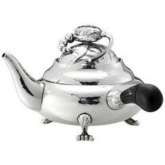 Georg Jensen 2A Sterling Silver Blossom Teapot with Ebony Handle