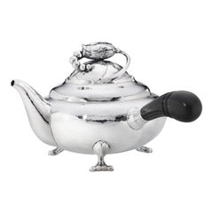Georg Jensen 2D Handcrafted Sterling Silver and Ebony Teapot