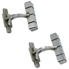 Georg Jensen #64 Sterling Silver Bar Cuff Links Design by Henry Pilstrup