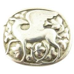 "Georg Jensen #81 Sterling Silver ""Winged"" Deer Pin/Brooch"