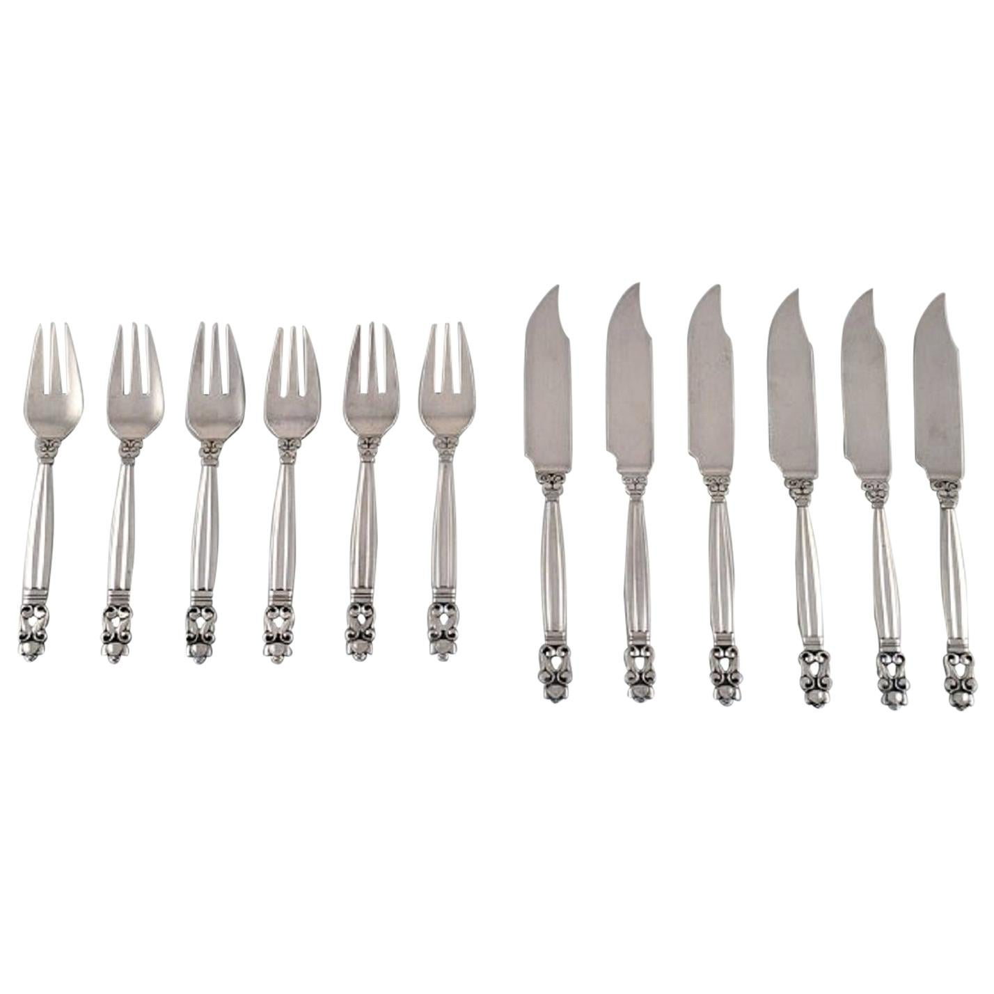 """Georg Jensen """"Acorn"""" Fish Cutlery in Sterling Silver, Service for Six People"""